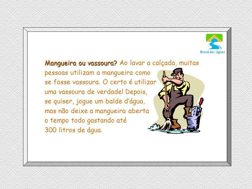 Mangueira ou vassoura Ao lavar a calçada, muitas pessoas utilizam a mangueira como