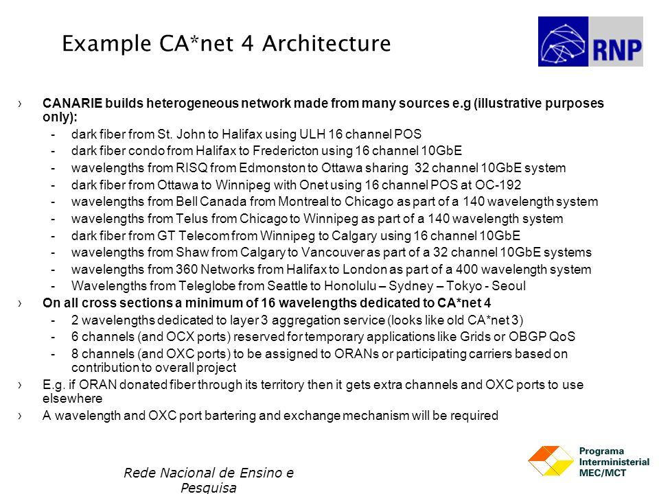 Example CA*net 4 Architecture