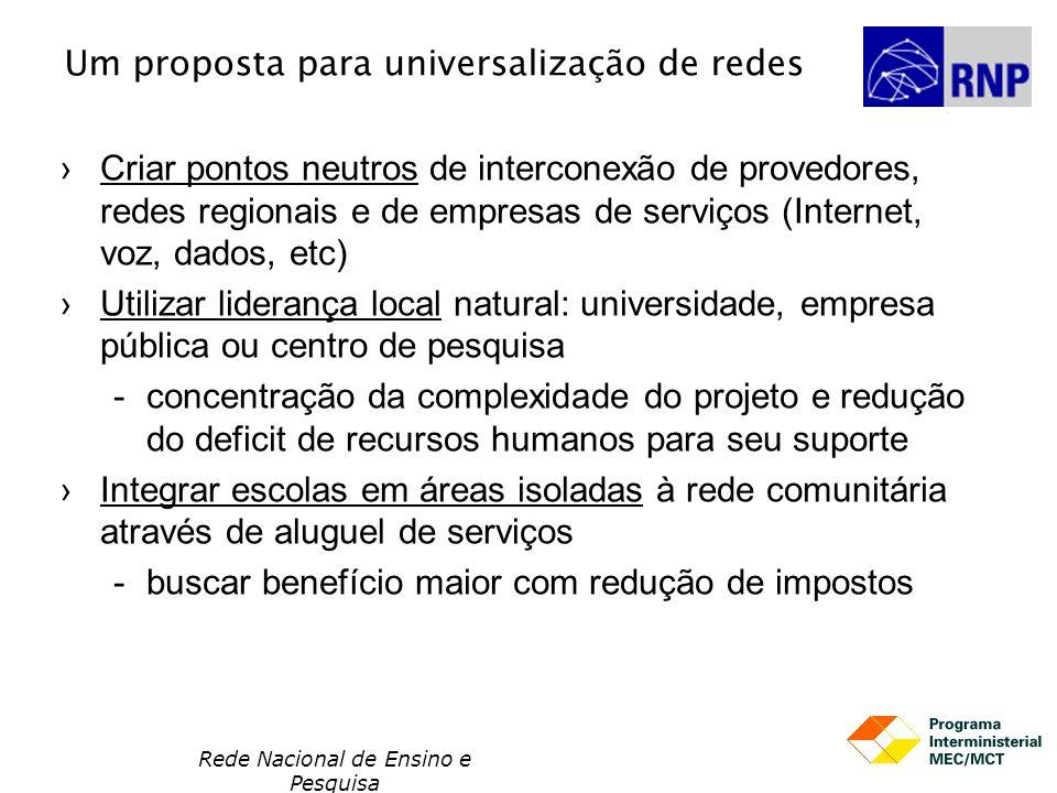 Um proposta para universalização de redes