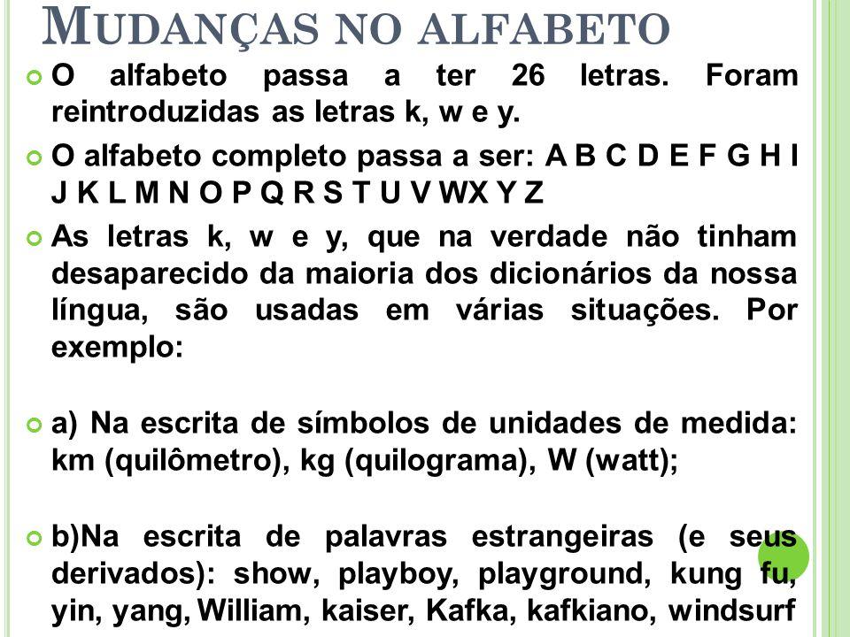 Mudanças no alfabeto O alfabeto passa a ter 26 letras. Foram reintroduzidas as letras k, w e y.