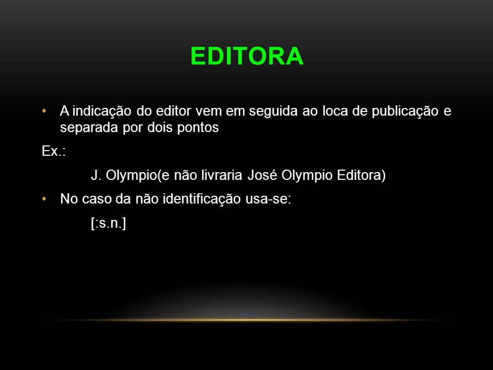 EDITORA A indicação do editor vem em seguida ao loca de publicação e separada por dois pontos. Ex.: