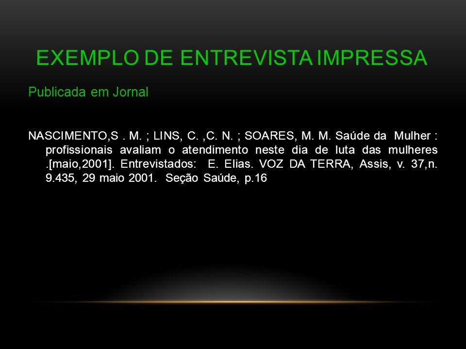 Exemplo de Entrevista Impressa