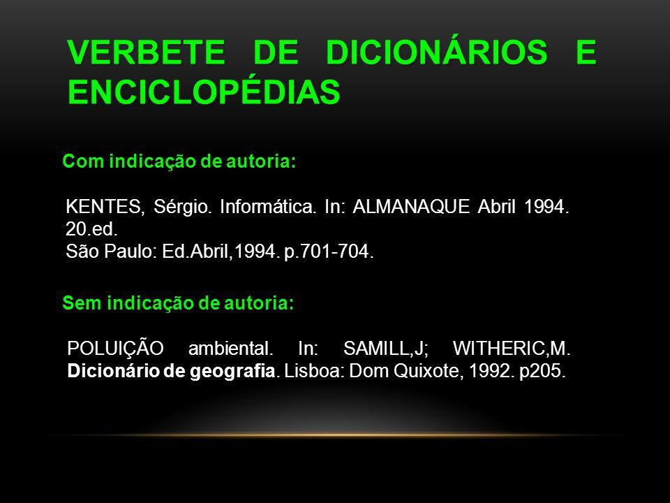 VERBETE DE DICIONÁRIOS E ENCICLOPÉDIAS