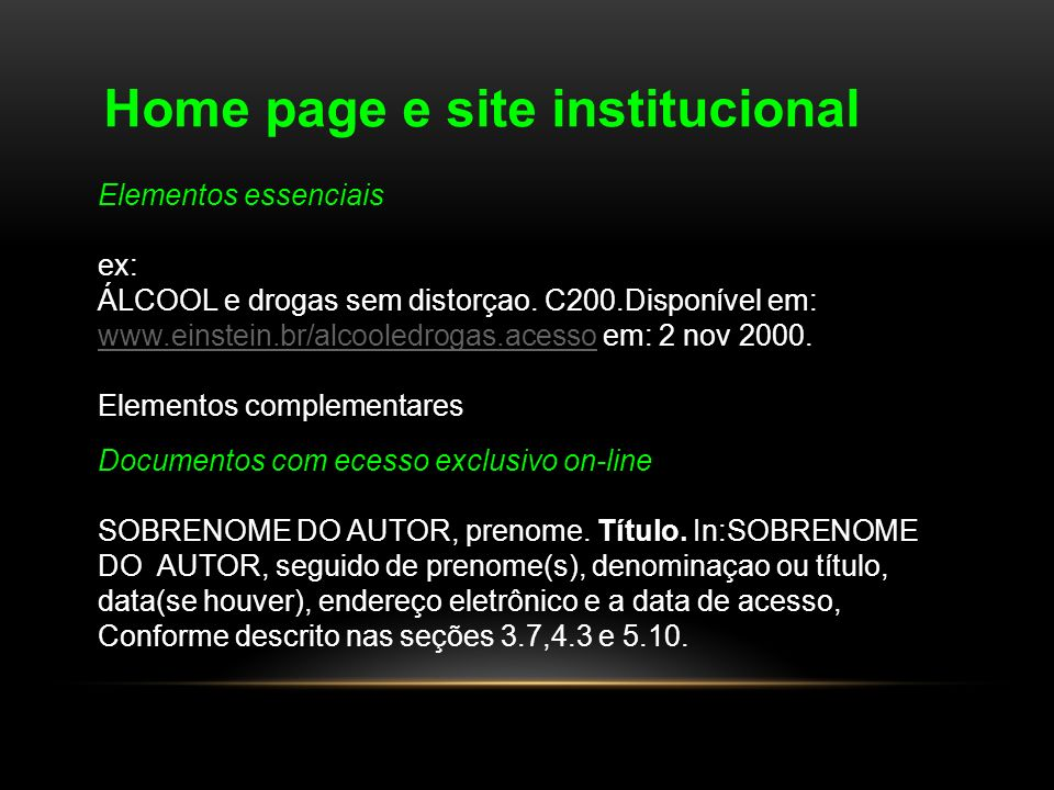 Home page e site institucional