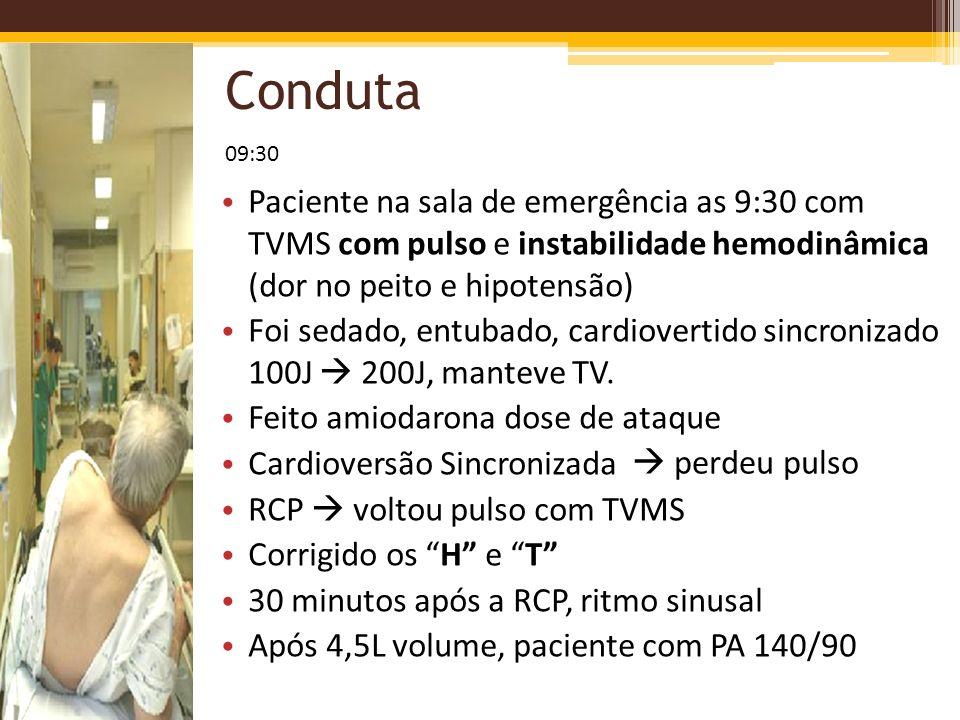 Conduta 09:30. Paciente na sala de emergência as 9:30 com TVMS com pulso e instabilidade hemodinâmica (dor no peito e hipotensão)