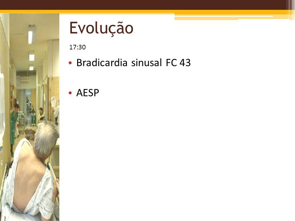 Evolução 17:30 Bradicardia sinusal FC 43 AESP