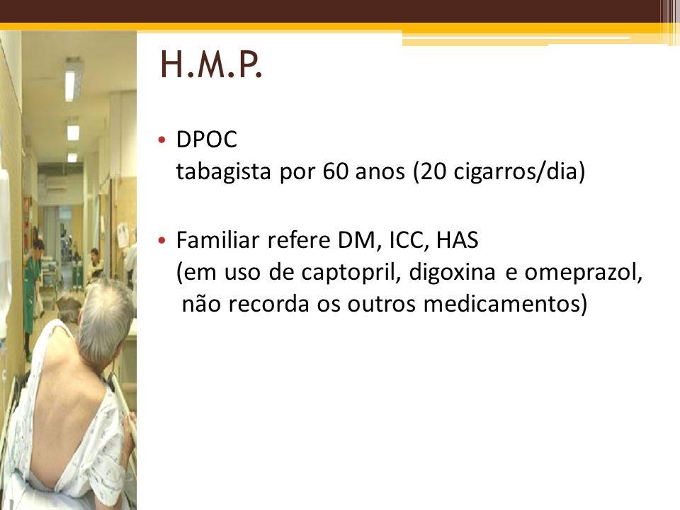 H.M.P. DPOC tabagista por 60 anos (20 cigarros/dia)