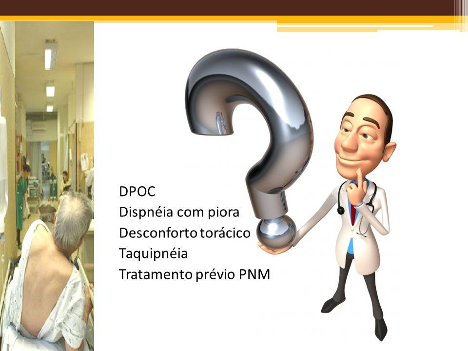 DPOC Dispnéia com piora Desconforto torácico Taquipnéia Tratamento prévio PNM