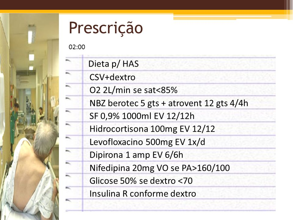 Prescrição Dieta p/ HAS CSV+dextro O2 2L/min se sat<85%