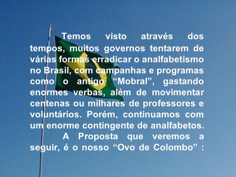 Temos visto através dos tempos, muitos governos tentarem de várias formas erradicar o analfabetismo no Brasil, com campanhas e programas como o antigo Mobral , gastando enormes verbas, além de movimentar centenas ou milhares de professores e voluntários.