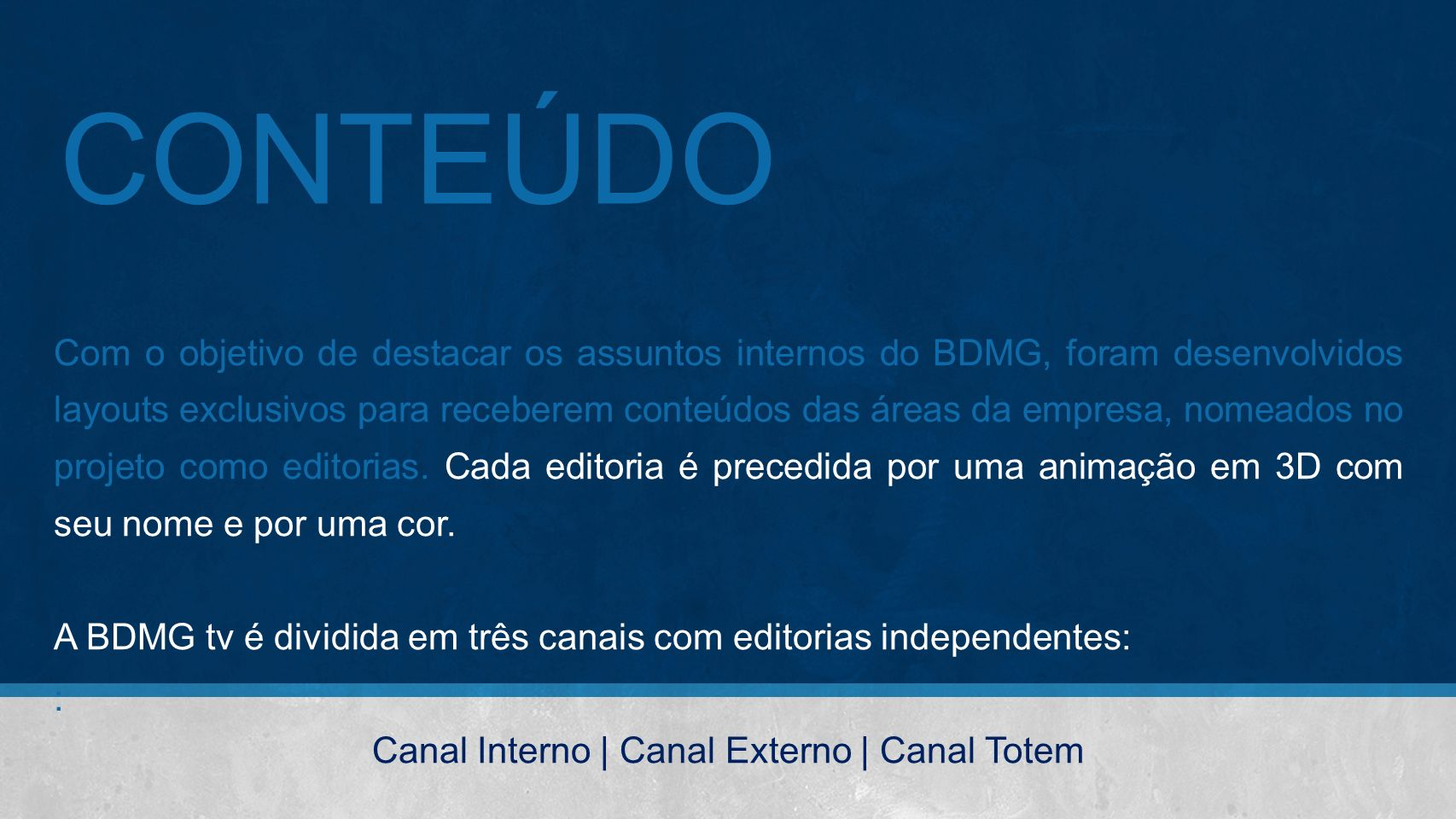 Canal Interno | Canal Externo | Canal Totem