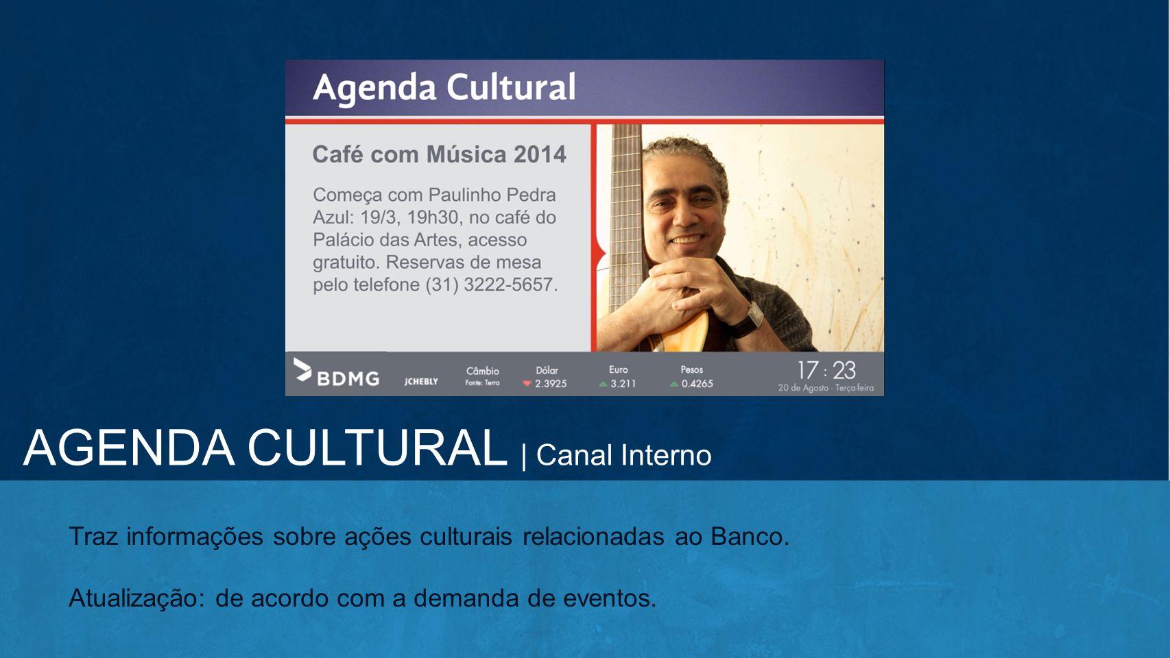 AGENDA CULTURAL | Canal Interno