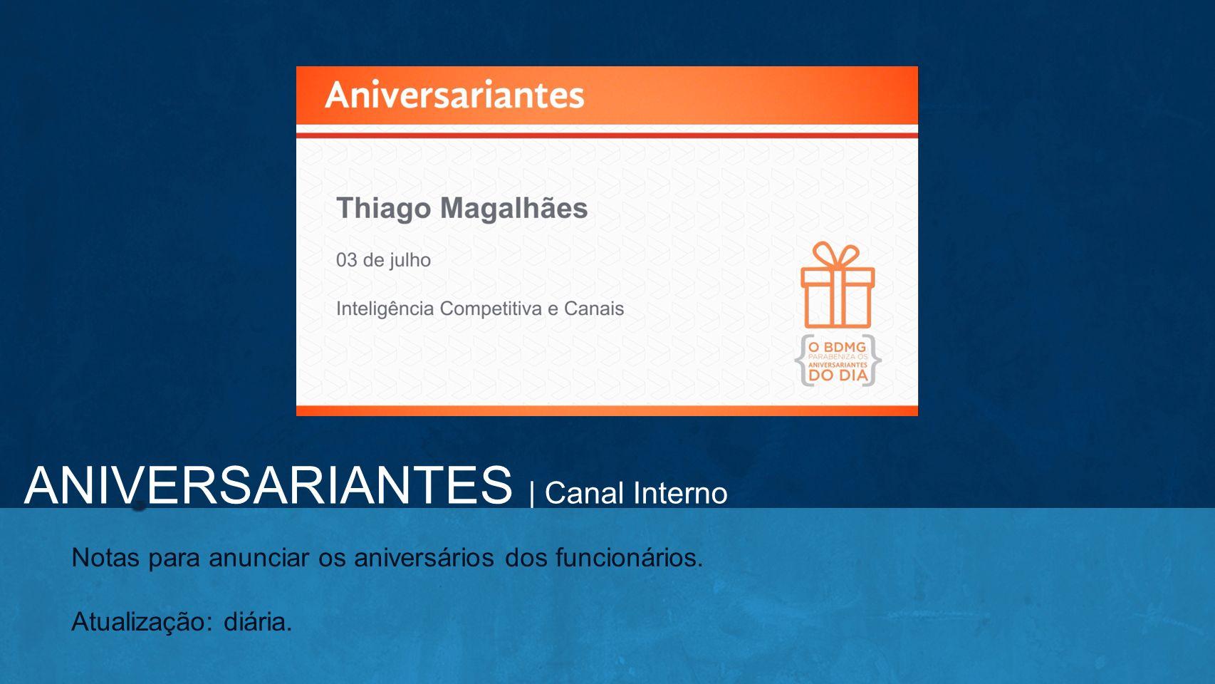 ANIVERSARIANTES | Canal Interno