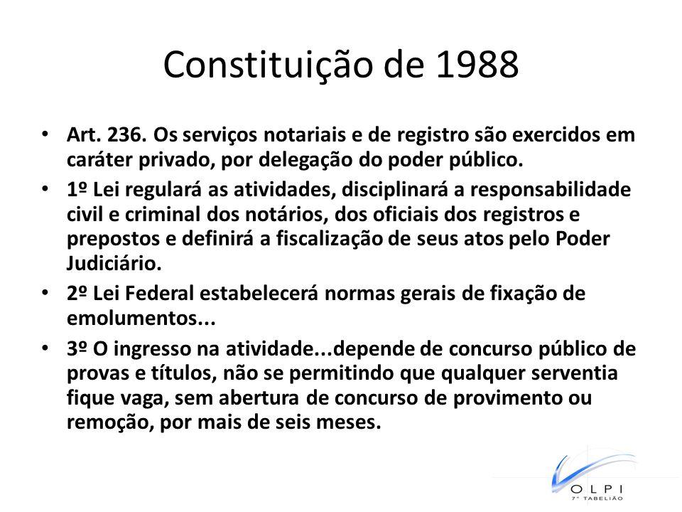 Constituição de 1988 Art. 236. Os serviços notariais e de registro são exercidos em caráter privado, por delegação do poder público.