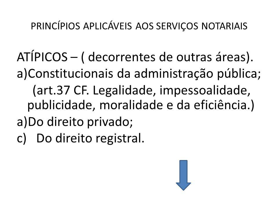 PRINCÍPIOS APLICÁVEIS AOS SERVIÇOS NOTARIAIS