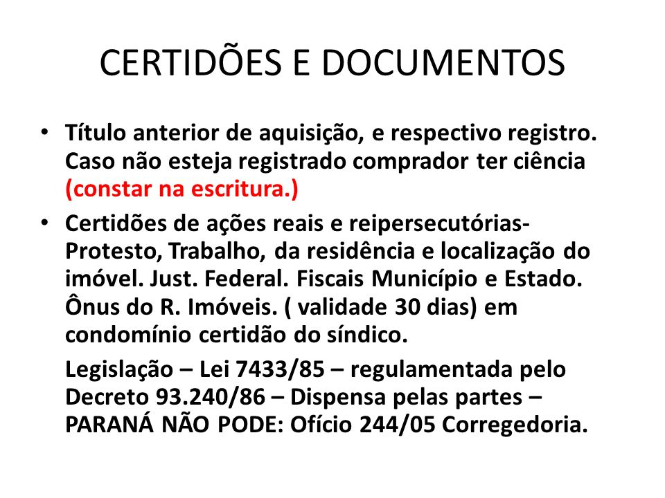 CERTIDÕES E DOCUMENTOS