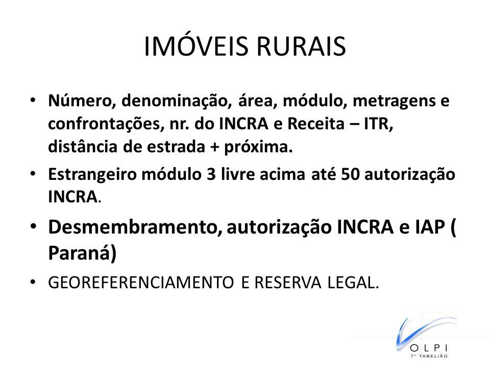 IMÓVEIS RURAIS Desmembramento, autorização INCRA e IAP ( Paraná)
