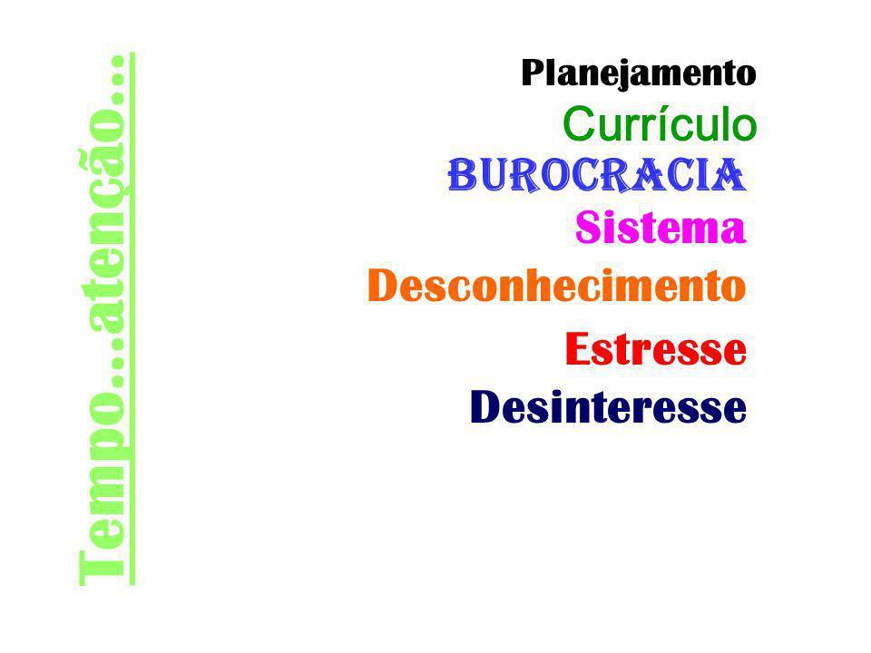 Tempo...atenção... Currículo Burocracia Sistema Desconhecimento