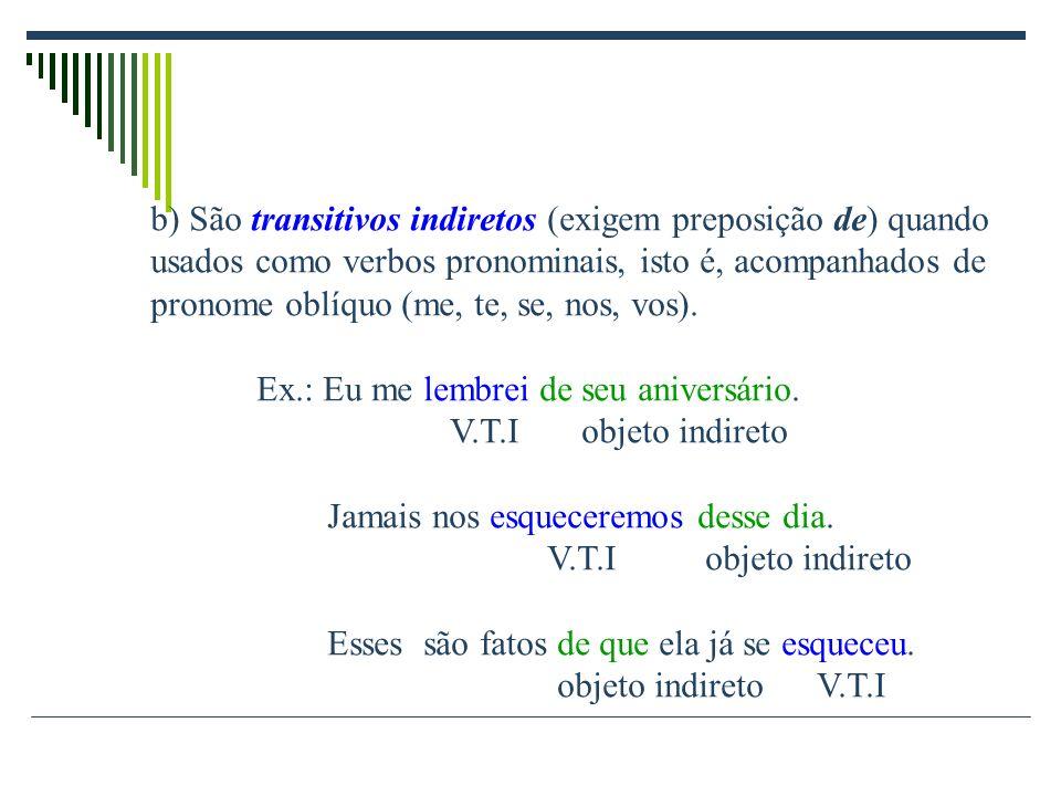 b) São transitivos indiretos (exigem preposição de) quando