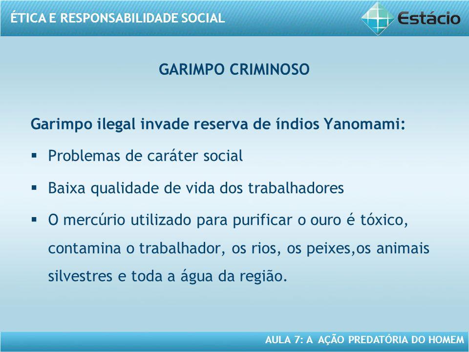 GARIMPO CRIMINOSO Garimpo ilegal invade reserva de índios Yanomami: Problemas de caráter social. Baixa qualidade de vida dos trabalhadores.