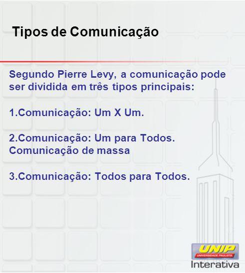 Tipos de Comunicação Segundo Pierre Levy, a comunicação pode ser dividida em três tipos principais:
