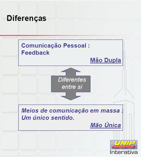 Diferenças Comunicação Pessoal : Feedback Mão Dupla Diferentes