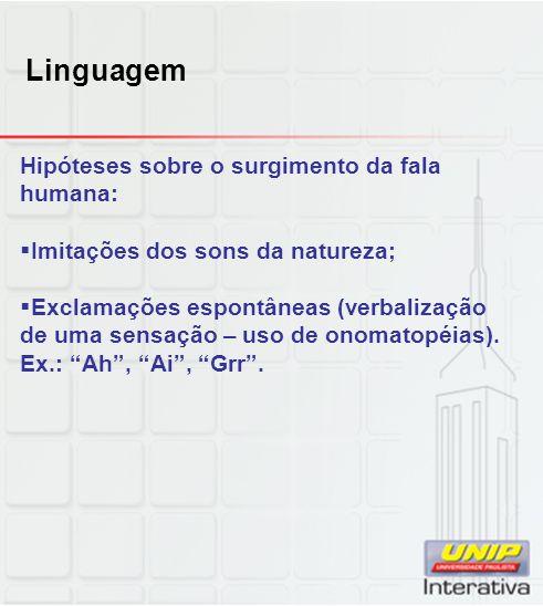 Linguagem Hipóteses sobre o surgimento da fala humana: