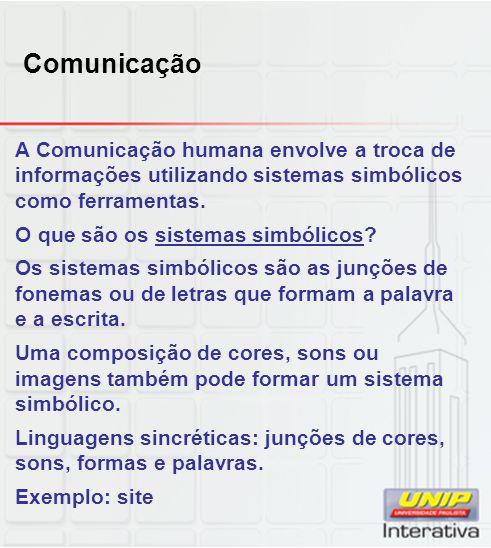 Comunicação A Comunicação humana envolve a troca de informações utilizando sistemas simbólicos como ferramentas.