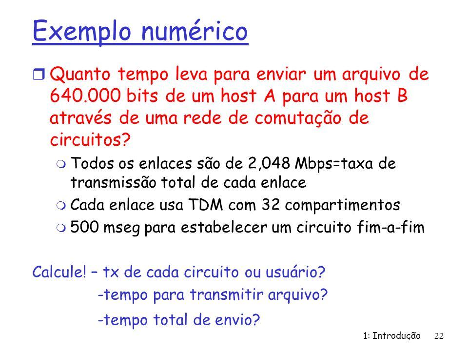 Exemplo numérico Quanto tempo leva para enviar um arquivo de 640.000 bits de um host A para um host B através de uma rede de comutação de circuitos