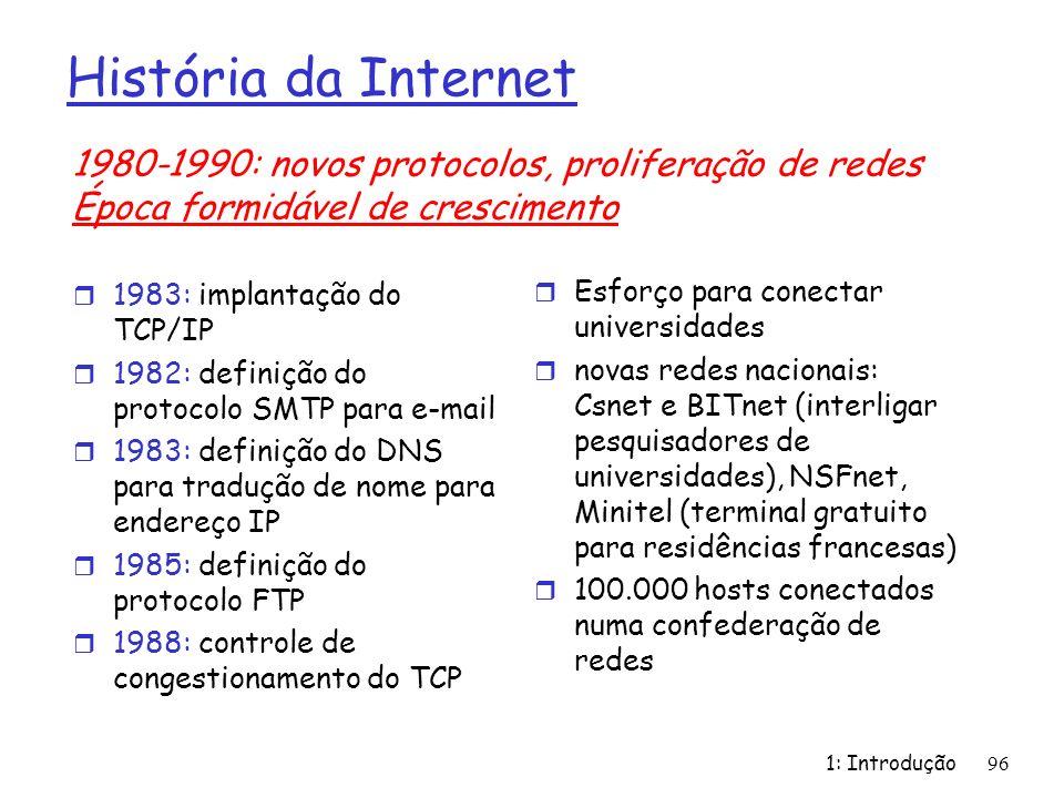 História da Internet 1980-1990: novos protocolos, proliferação de redes. Época formidável de crescimento.