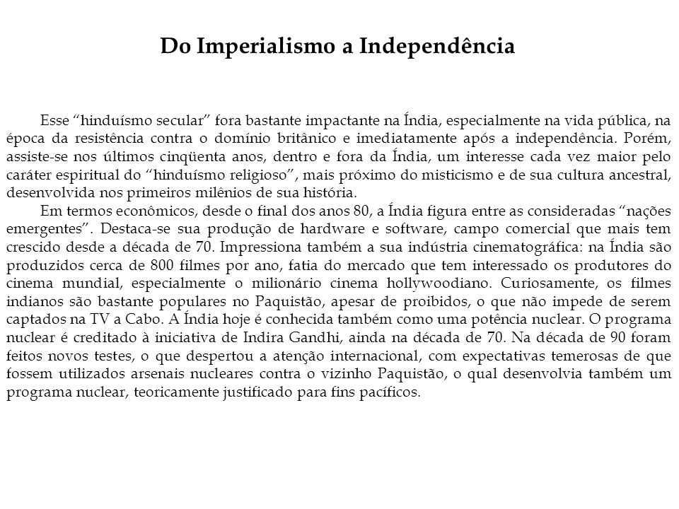 Do Imperialismo a Independência