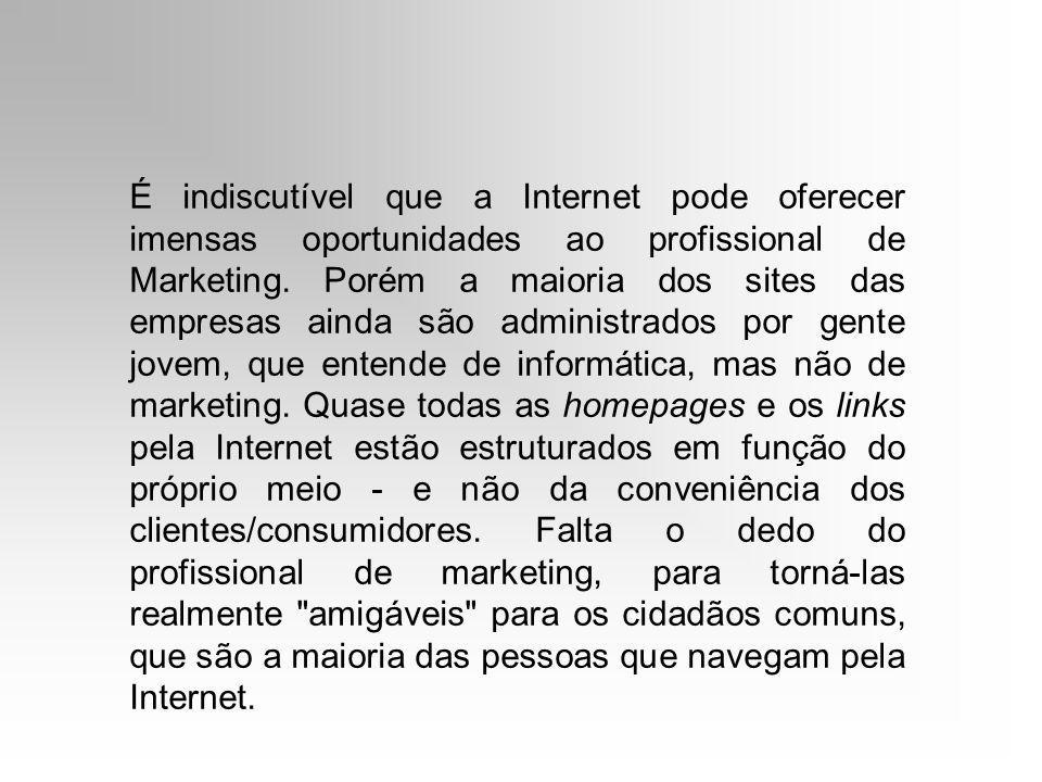 É indiscutível que a Internet pode oferecer imensas oportunidades ao profissional de Marketing.