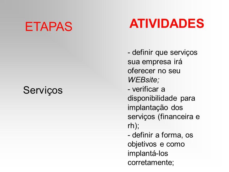 ATIVIDADES ETAPAS Serviços
