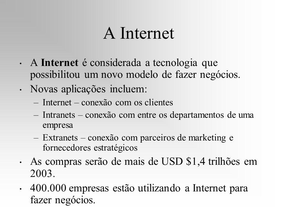 A Internet A Internet é considerada a tecnologia que possibilitou um novo modelo de fazer negócios.