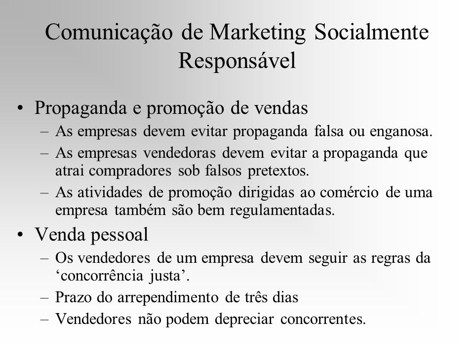 Comunicação de Marketing Socialmente Responsável