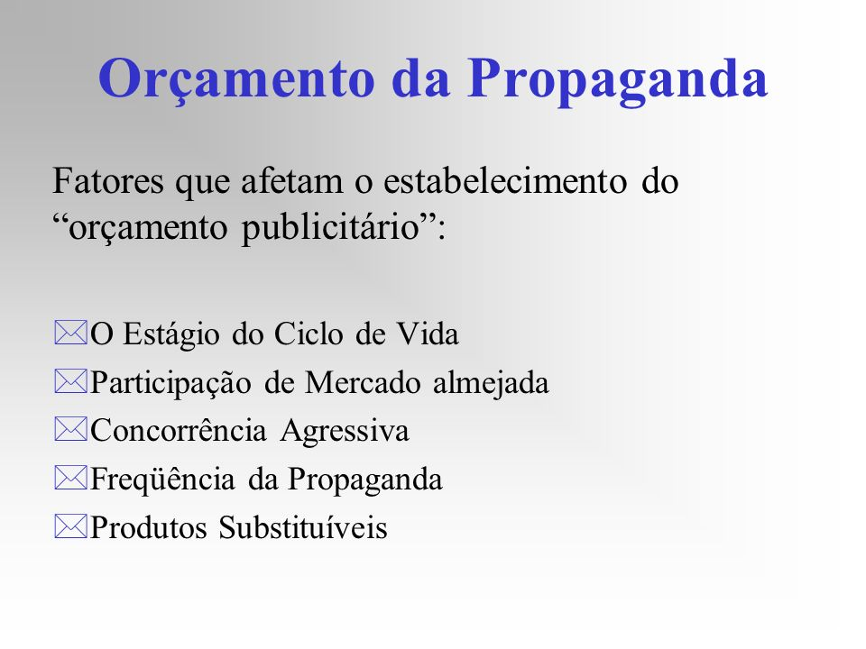Orçamento da Propaganda