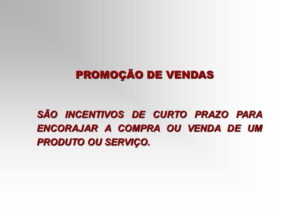 PROMOÇÃO DE VENDAS SÃO INCENTIVOS DE CURTO PRAZO PARA ENCORAJAR A COMPRA OU VENDA DE UM PRODUTO OU SERVIÇO.