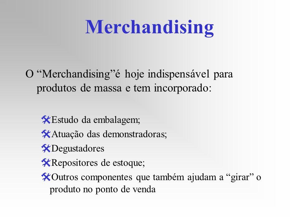 Merchandising O Merchandising é hoje indispensável para produtos de massa e tem incorporado: Estudo da embalagem;
