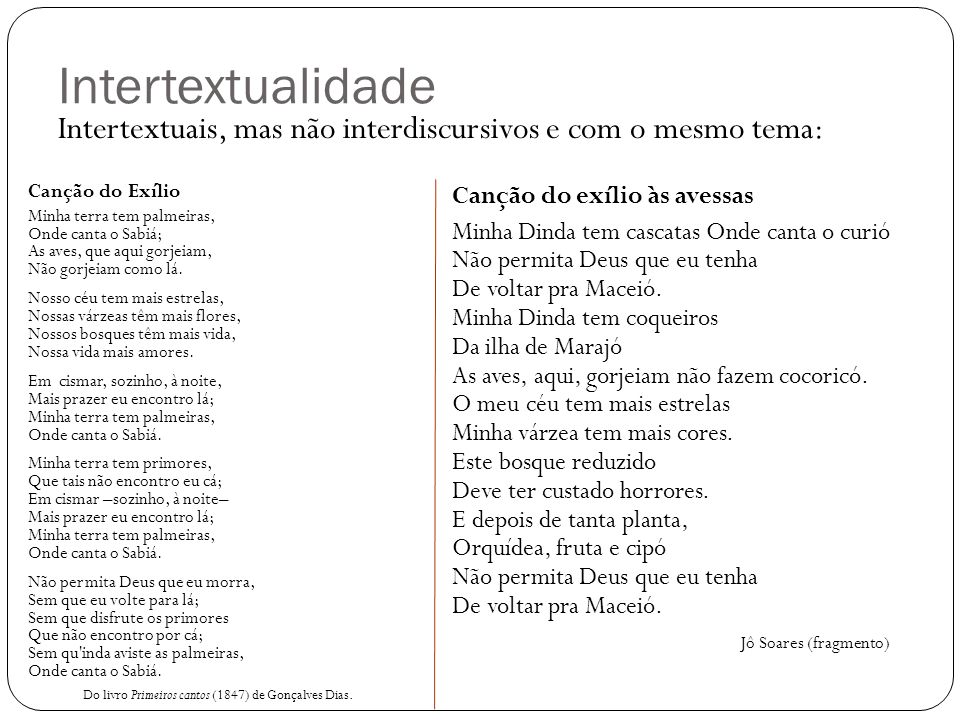 Intertextualidade Intertextuais, mas não interdiscursivos e com o mesmo tema: Canção do Exílio.