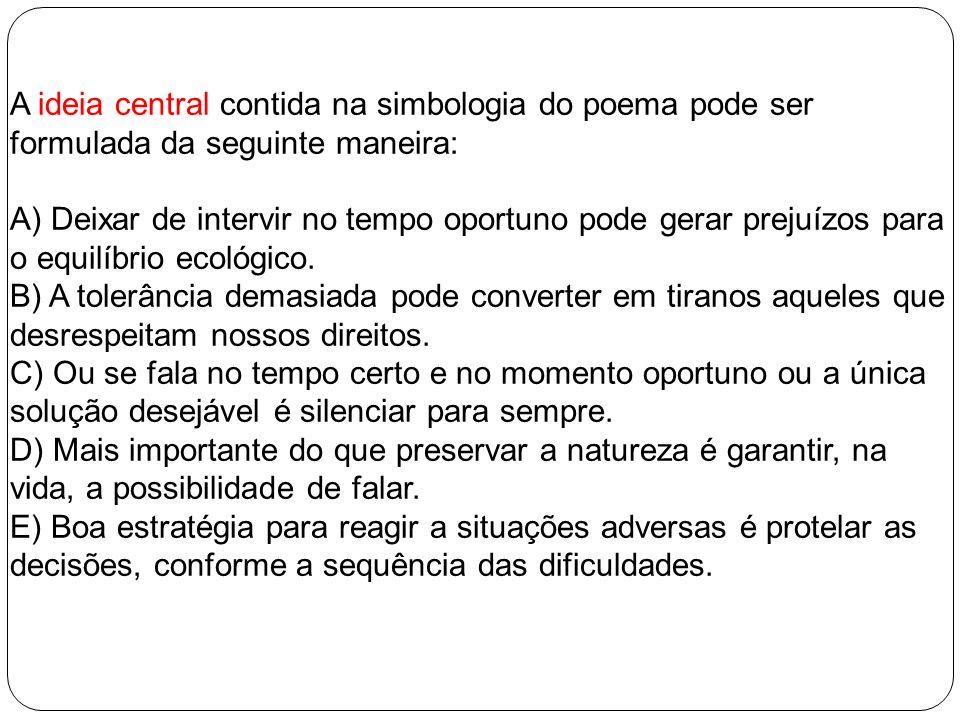 A ideia central contida na simbologia do poema pode ser formulada da seguinte maneira:
