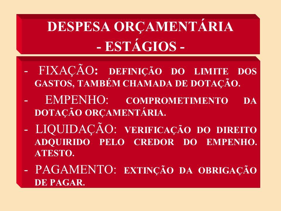 DESPESA ORÇAMENTÁRIA - ESTÁGIOS -