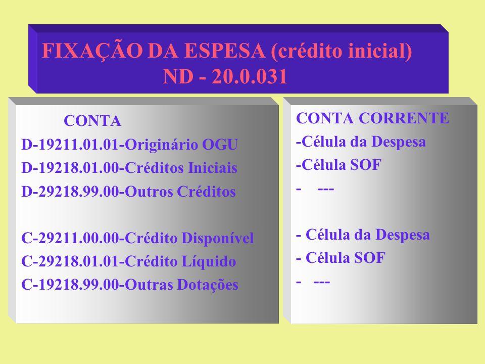 FIXAÇÃO DA ESPESA (crédito inicial) ND - 20.0.031