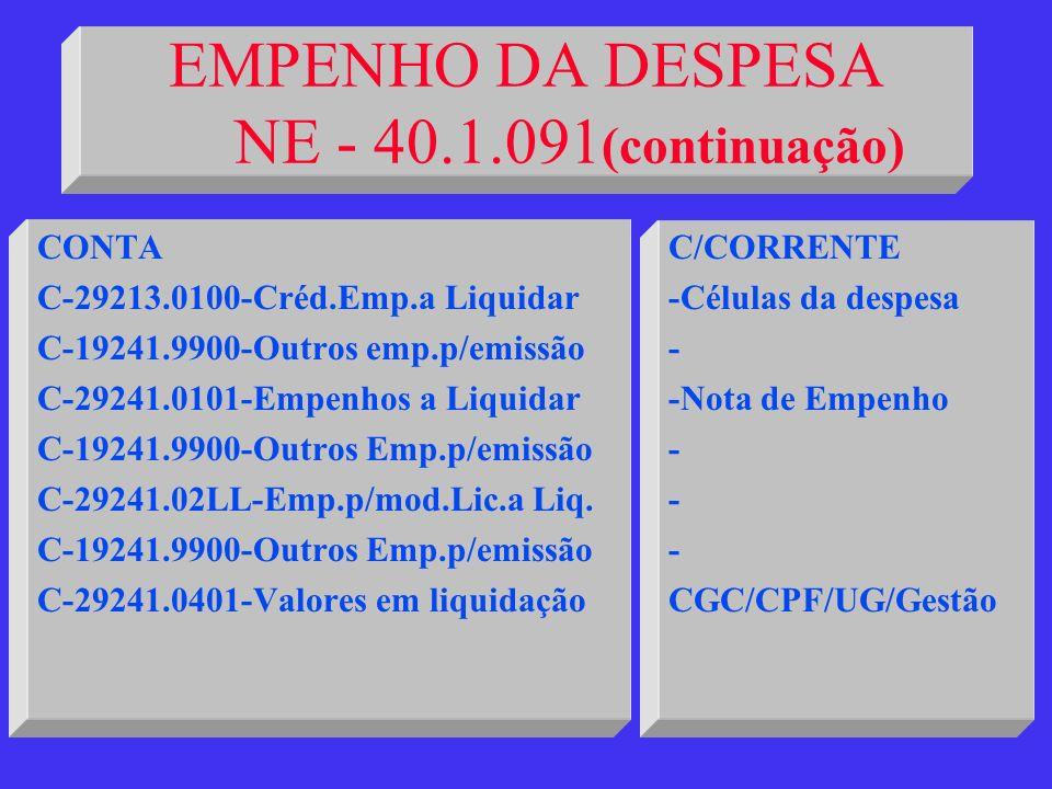 EMPENHO DA DESPESA NE - 40.1.091(continuação)