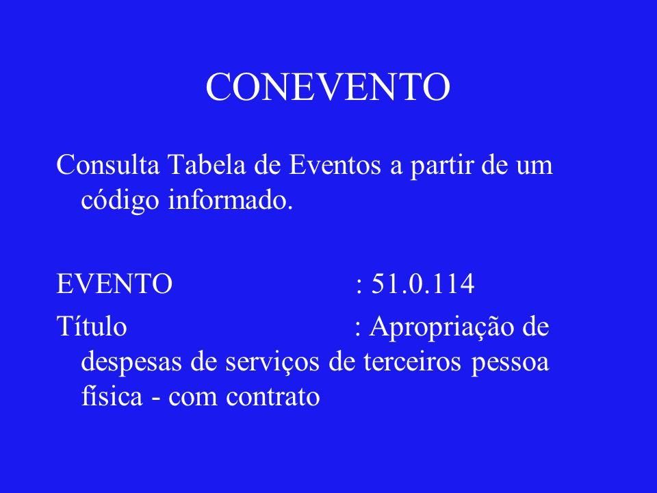 CONEVENTO Consulta Tabela de Eventos a partir de um código informado.
