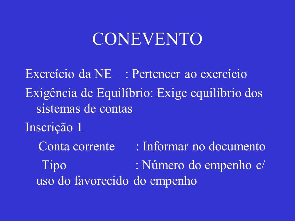 CONEVENTO Exercício da NE : Pertencer ao exercício