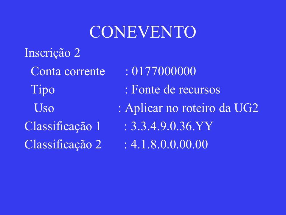 CONEVENTO Inscrição 2 Conta corrente : 0177000000