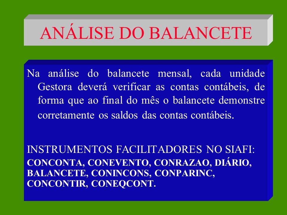 ANÁLISE DO BALANCETE