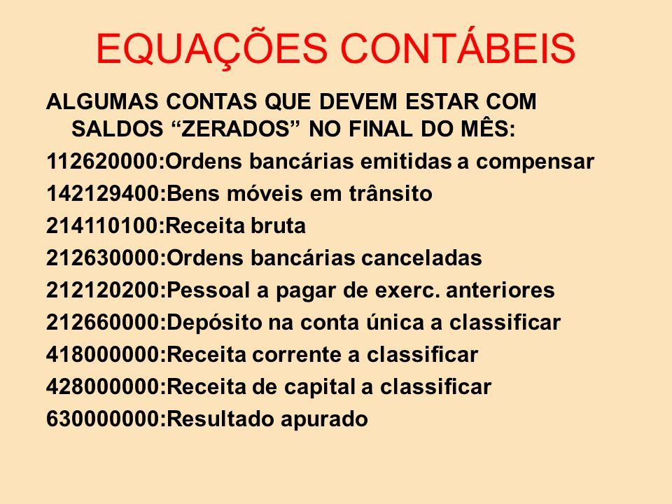 EQUAÇÕES CONTÁBEIS ALGUMAS CONTAS QUE DEVEM ESTAR COM SALDOS ZERADOS NO FINAL DO MÊS: 112620000:Ordens bancárias emitidas a compensar.