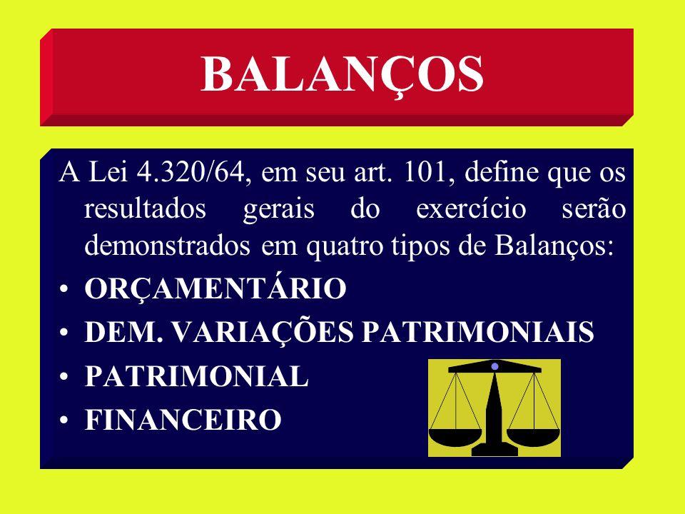 BALANÇOS A Lei 4.320/64, em seu art. 101, define que os resultados gerais do exercício serão demonstrados em quatro tipos de Balanços: