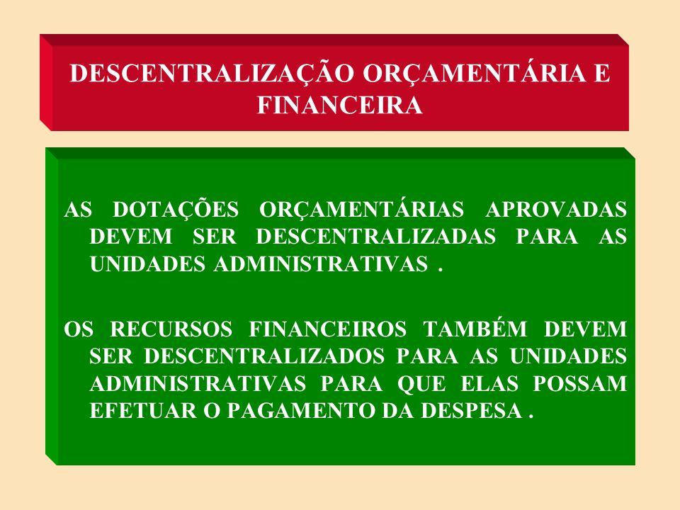 DESCENTRALIZAÇÃO ORÇAMENTÁRIA E FINANCEIRA
